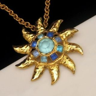 Large Star Sun Brooch Pin Pendant Necklace Blue Glass Stones