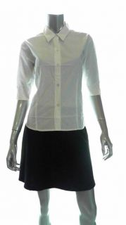 Bill Blass Jeans Misses Cotton 3 4 Sleeve Button Down Top Sz L Solid