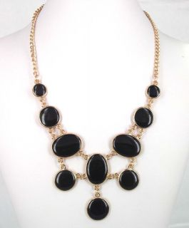 Chunky Black Oil Circle Pendant Collar Bib Link Statement Necklace
