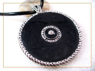 Silver Black Circle Pendant Rope Necklace CLEARANCE Up to 30 Off