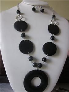 black color wood circle pendant flat circle wood bead necklace earring