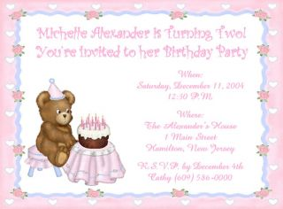 10 Sweet Teddy Bear Kids Custom Birthday Invitations