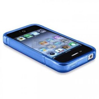 Blue TPU S line Back Cover Case for iPhone 4 4S + Front & Back