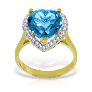 Certified 6.44 Ct RING Diamond HEART BLUE TOPAZ 14K Solid Yellow Gold