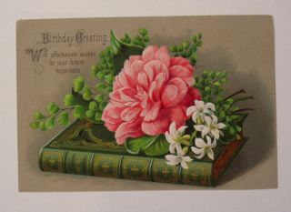 Victorian Birthday Greeting Card Large Size Embossed Chromolithograph