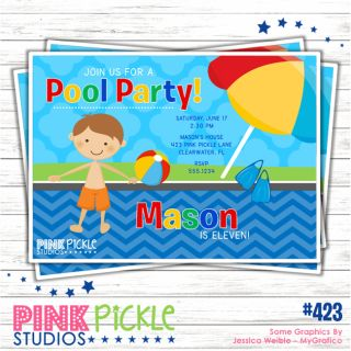 Pool Party 5 Birthday Party Invitation or Thank You Card