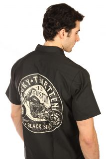 lucky 13 black sin mens black button front shirt this lucky