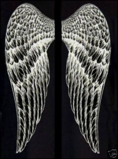 Black or White Angel Wings T Shirt Plus Size Sparkly