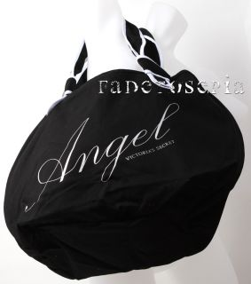 VICTORIAS SECRET BLACK ANGEL SHOULDER BAG CANVAS LARGE TOTE NEW TRAVEL