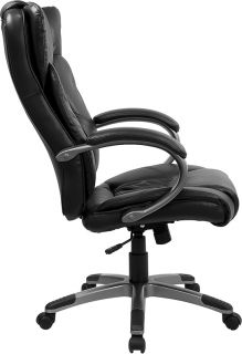 leather executive office chair high back thick double padding on