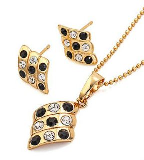 Gold Filled Black Crystals Necklace Earrings Set s A256 B