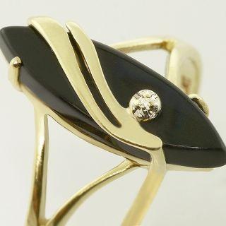 10K Yellow Gold Marquise Black Onyx Diamond Vintage Fashion Ring