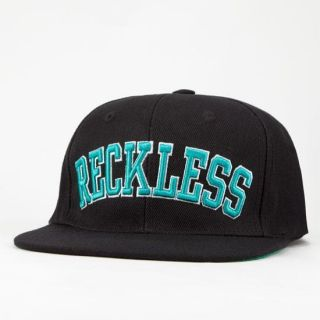 Young Reckless Black Block Wool Blend Flat Bill Snapback Hat Ball Cap