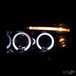 Glossy Black 1994 2001 Dodge RAM Halo Projector Headlights H1 6000K