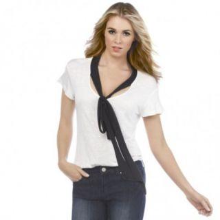 Kim Kardashian Kollection White Black Tie Neck Blouse Shirt Top NWT L