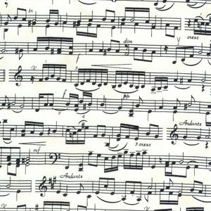 Musical Score Black Music Notes on Ivory Fabric Fat Quarter