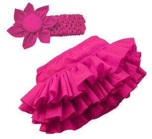 Girl Baby Clothing Ruffle Pants Bloomers Nappy Skirt Headband 4 Color