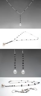 Cultured Pearl & Black Diamond Necklace & Earrings Set 18K White Gold