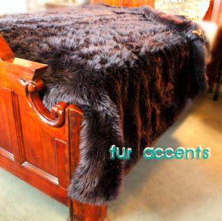 KING BLACK BEAR BEDSPREAD ACCENT FAKE FAUX FUR PELT RUGS LOG CABIN