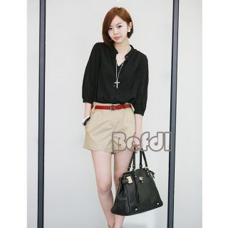 Batwing 3 4 Sleeve Summer Casual Tops Blouses Shirt White Black
