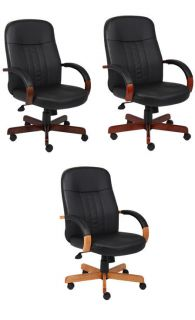 Black Leather Desk Office Chair with Wood Base Arms B8376