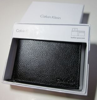 Mens Black Leather Bifold Wallet with ID Window Flap in Box