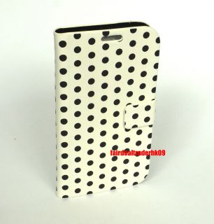 Polka Dot Leather Wallet Pouch Flip Case Cover Stand for Samsung