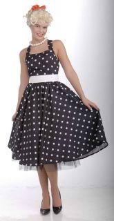 50s Cutie Black & White Polka Dot Dress Costume w/Crinoline Adult X