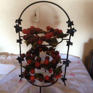 Metal 3 TIER FRUIT BASKET STAND Blackberries And Raspberries