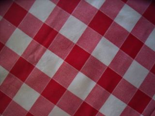 Shabby Christmas Cottage Chic VINTAGE RED & WHITE GINGHAM TABLECLOTH