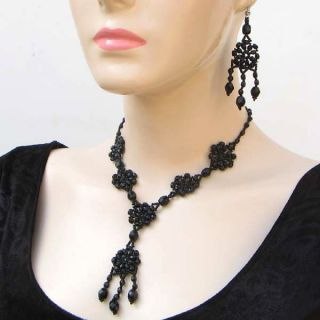 Victorian Art Black Flower Beaded Necklace Earrings Set