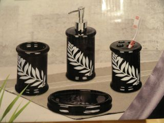 New 4 PC Bath Accessory Set Black White Leaf Soap Dispenser Toothbrush