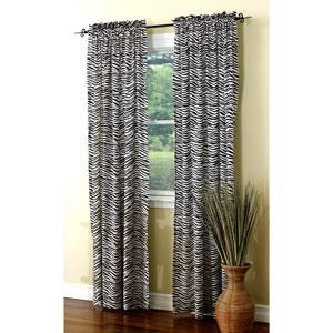 Black White Zebra Animal Print Curtain Panel Window Treatment 1pc 84