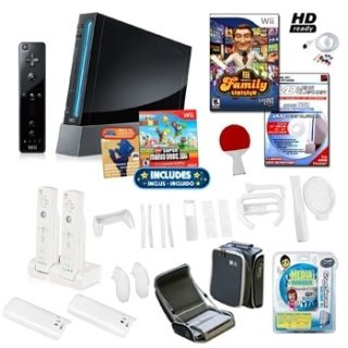 Nintendo Wii Console System Black Super Mario Bundle with Games