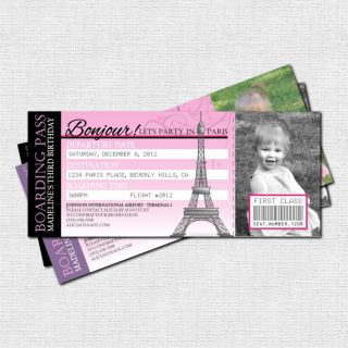 PARTY INVITATIONS Printable Boarding Pass BirthdayTickets printable