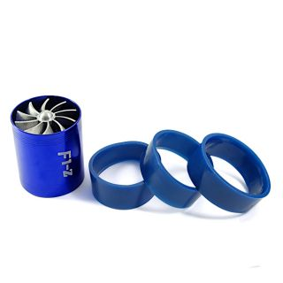 Fit Blue Car Alloy Double Propeller Turbo Turbine Air Intake Saver Fan