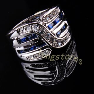 Jewellery Bland new sapphire mens 10kt white Gold GF Ring 10