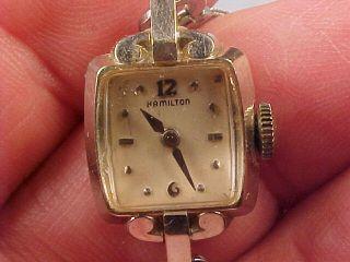 14 KT White Gold Hamilton 17 Jewel Ladies Stem Wind Wrist Watch