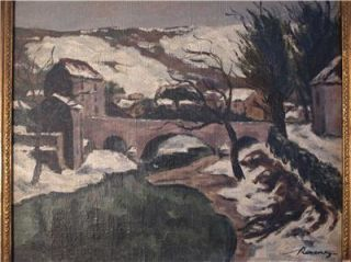 Early 20thC French Impressionist Oil Painting Winter Landscape Signed