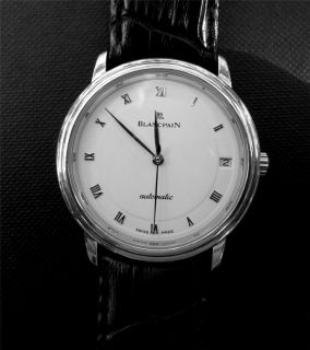 Blancpain Villeret Ultra Slim Automatic Watch White Dial Date Leather