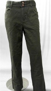 Bill Blass Stains Away Misses 14 Casual Pants Dark Green Solid Slacks