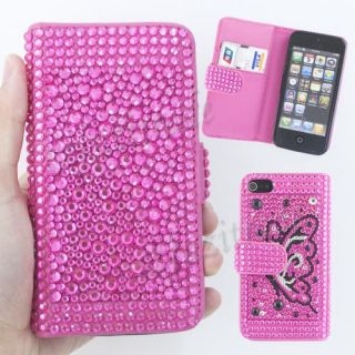 Pink Butterfly Diamond Bling Wallet Card Slot Leather Case for Apple