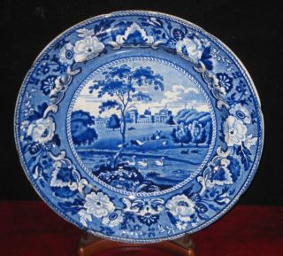 Antique Blue Staffordshire Cabinet Plate CA 1830s Blenheim