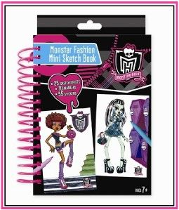 Monster High Dolls Fashion Design Mini Sketch Book Markers Stickers