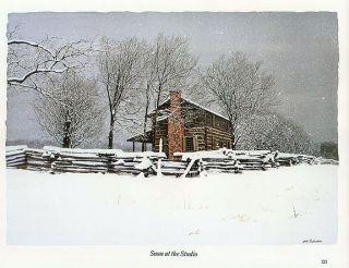 Bob Timberlake Print Log Home Winter Snow at The Studio
