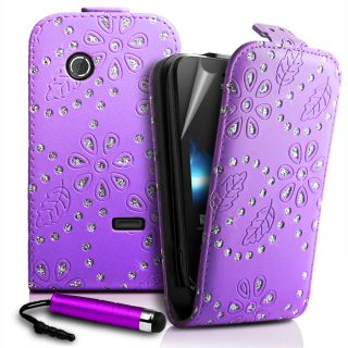 Diamond Bling Flip Leather Case Cover for Sony ST21I Xperia Tipo Film