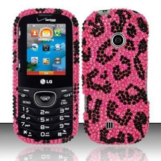 LG Cosmos 2 VN251 Verizon Hard Case Silver Snap on Cover Pink Leopard