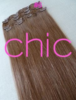 18 7pc Clip in Real Hair Extensions Blonde Black Brown