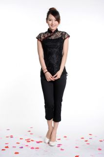 Chinese Cheongsam Tong Blouse Qipao Top w Lace Black 1pc