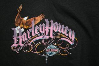Harley Honey Woman Black Med Lace shirt 3D Emblem USA